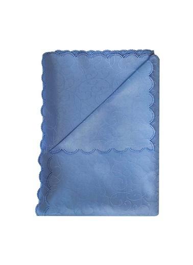 Maki 160X220 Masa Örtüsü 12 Kişilik Mavi Desenli Mavi